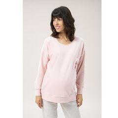Sweat de grossesse en maille côtelée à poche brodée