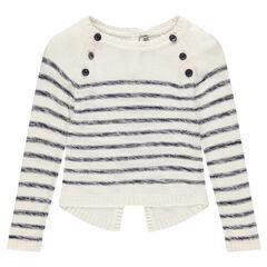 Junior - Pull en tricot esprit marin avec dos fantaisie