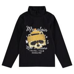 Sous-pull col roulé en jersey avec motif printé sur le devant