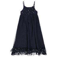 Junior - Lange jurk van plumetisvoile met voering en print met sterren