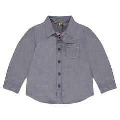 Hemd met lange mouwen en superkleine visgraatmotieven en zakje