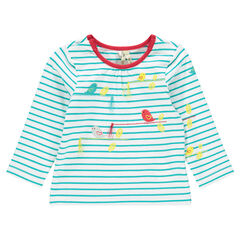 Tee-shirt manches longues rayé avec print oiseaux et pompons
