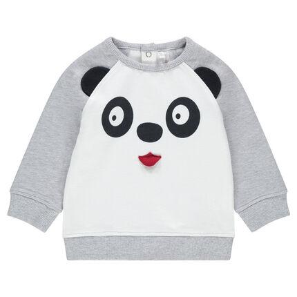 Trui van molton in twee kleuren met pandaprint