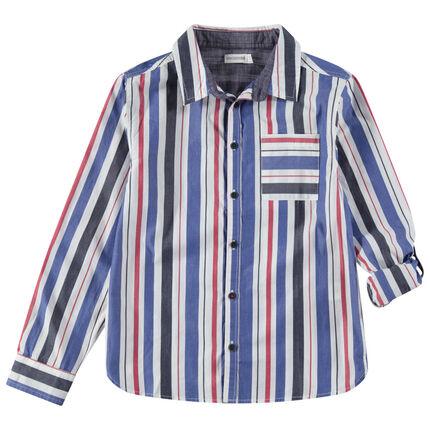 Junior - Hemd met lange mouwen, verticale strepen en zakje
