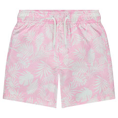 "Junior - Pastelkleurige zwemshort met plantenprint ""all-over"""