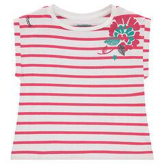 T-shirt met korte mouwen, 'boxy'-vorm en bloemenprint