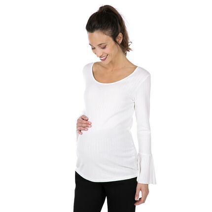 Zwangerschaps-T-shirt in ribtricot met wijde mouwen