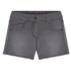 "Geverfde short in twill met used-effect en ""cut""-afwerking"