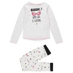 Junior - Pyjama en jersey gris chiné avec masques printés et textes