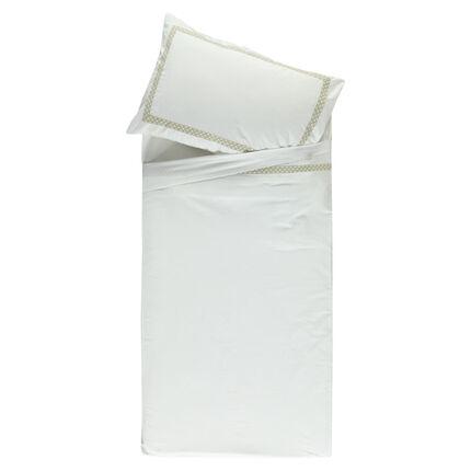 Set de drap + taie d'oreiller en popeline avec liseré imprimé