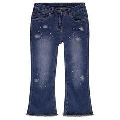 Junior - Pantacourt en jeans effet used