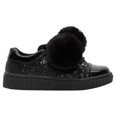 Lage sneakers met zwarte pailletjes en pompons