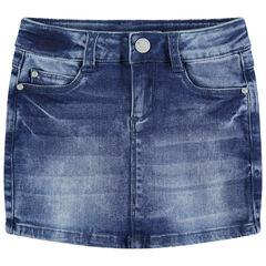 Junior - Jupe en jean effet used et crinkle
