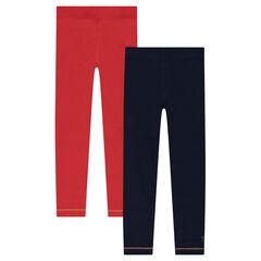 Junior - Lot de 2 leggings en jersey unis avec print doré