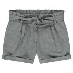 Junior - Short met hele kleine ruitjes en plooien in de taille