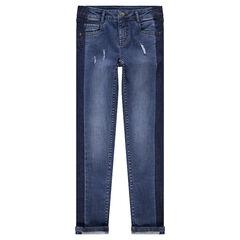 Junior - Jeans slim effet used avec bandes sur les côtés