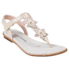 Gouden sandalen met fantasie bloemenpatch