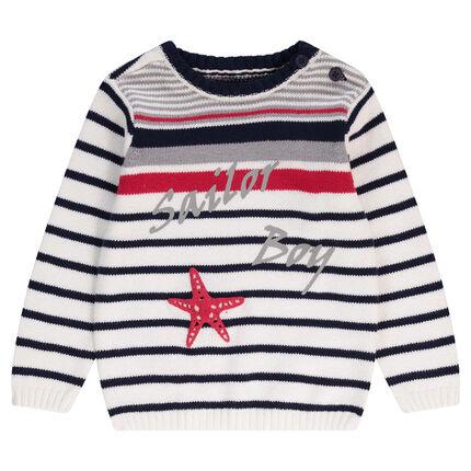 Pull en tricot esprit marinière avec inscriptions printées