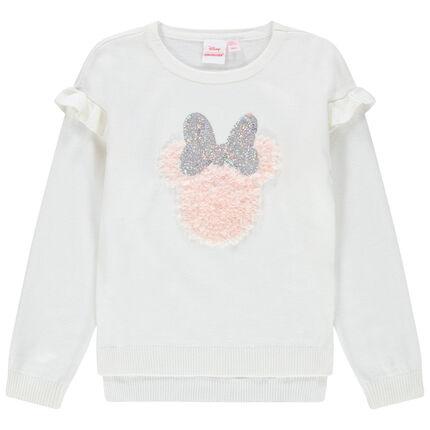 Pull en tricot volanté motif Minnie Disney en sequins