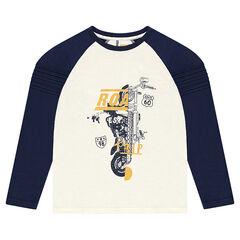 Junior - Tee-shirt bicolore à manches raglan avec print fantaisie