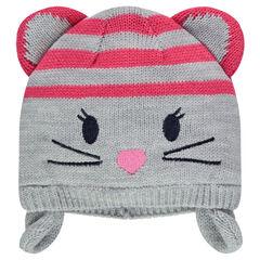 Bonnet péruvien en tricot avec détails brodés et oreilles de souris