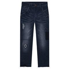 Junior - Jeans slim effet used et crinkle avec patchs et déchirures