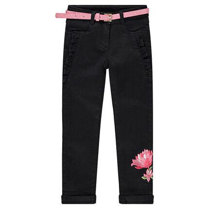 Jeans doublé jersey avec fleurs brodées et ceinture pailletée