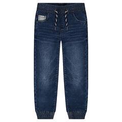 Jeans met used effect en met elastische taille en enkels