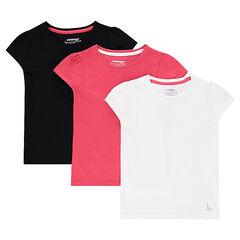 Set met 3 T-shirts van effen jerseystof met korte mouwen