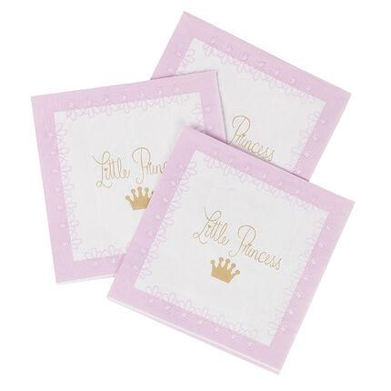 Lot de 20 serviettes anniversaire en papier motif princesse