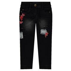 Jeans met used effect en borduurwerk met bloemen