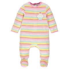 Gestreepte fluwelen pyjama met cupcake patch en met opening aangepast aan de leeftijd