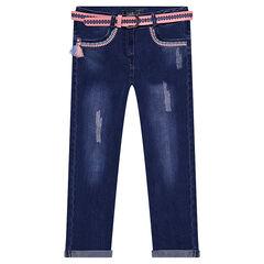 Jeans met used en crinkle effect, afneembare riem en borduurwerk