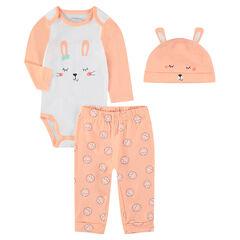 Geboorte-ensemble met bodypyjama en muts met konijnenprint
