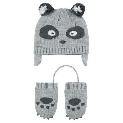 Ensemble Bonnet péruvien motif panda avec moufles en tricot