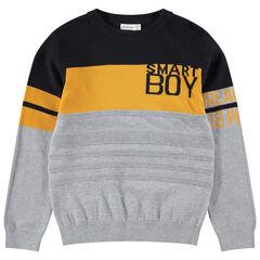 Junior - Pull en tricot ottoman avec inscriptions en jacquard