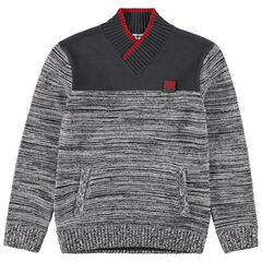 Junior - Pull en tricot fantaisie avec badge en gomme
