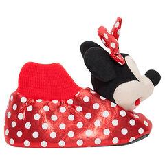 Pluchen pantoffels van Disney's Minnie met stippenprint, van maat 28 tot en met 35
