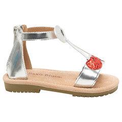 Zilveren sandalen met kers van pailletjes