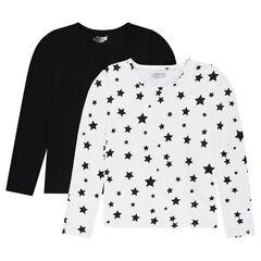 Junior - Set met 2 T-shirts met lange mouwen, effen/bedrukt met sterren