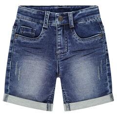 Bermuda en jeans effet used et crinkle à poches