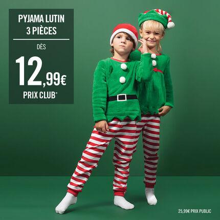 Pyjama lutin de Noël garçon en polaire esprit déguisement avec ensemble et bonnet