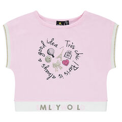 Tee-shirt court en jersey avec print ©Smiley