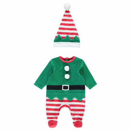 Pyjama van velours in kerstsfeer met elf en met muts met strepen