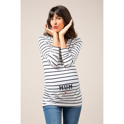 Zwangerschaps-T-shirt met lange mouwen, strepen en fantasieprint