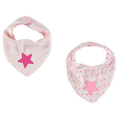 Lot de 2 bavoirs forme bandana avec broderie étoile