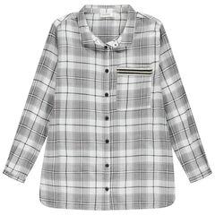 Junior - Chemise manches longues à carreaux avec inscription printée au dos