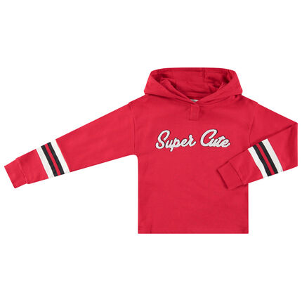 Junior - Sweat à capuche rouge avec inscription en bouclette