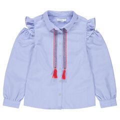 Junior - Gestreept hemd met lange mouwen en schouders met ajour en geborduurde krullen