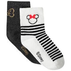 Lot de 2 paires de chaussettes rayées et unies motif Minnie Disney